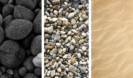 rocks, paper & sand